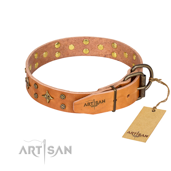 Easy wearing adorned dog collar of high quality full grain leather