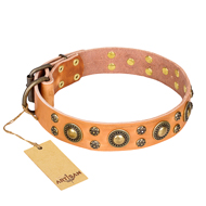 Sophisticated Glamor' FDT Artisan Leather German Shepherd Collar with Fancy Old-bronze Plated Decorations