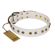 """Snow Cloud"" FDT Artisan White Leather German Shepherd Collar with Square and Rhomb Studs"