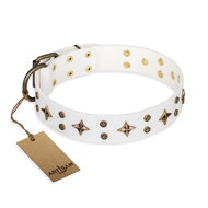 """Bright Stars"" FDT Artisan White Leather German Shepherd Collar with Old Bronze Look Decorations"