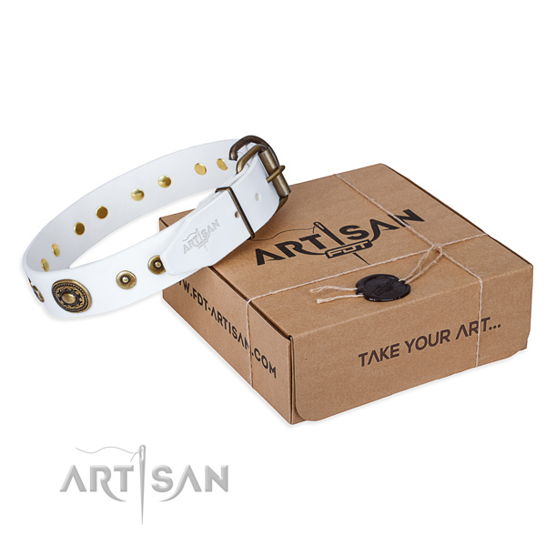 Natural genuine leather dog collar made of top notch material with durable traditional buckle
