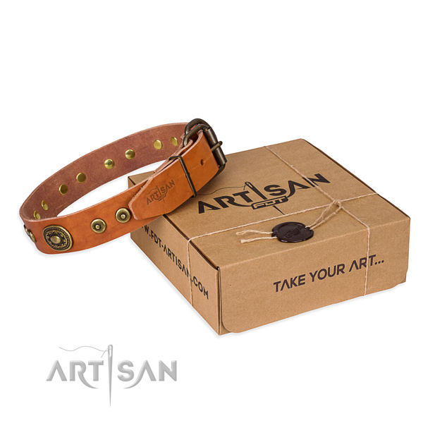 Genuine leather dog collar made of quality material with strong hardware