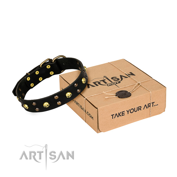 Easy wearing dog collar of fine quality full grain genuine leather with adornments