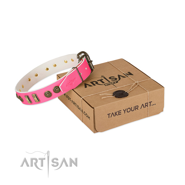 Durable studs on full grain natural leather dog collar for your four-legged friend