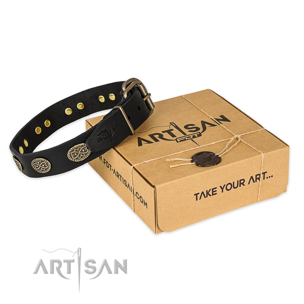 Reliable D-ring on natural genuine leather collar for your lovely four-legged friend