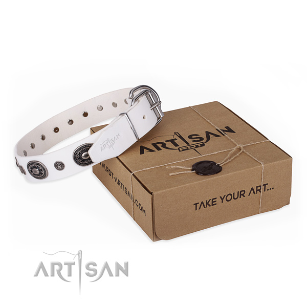 Top rate natural genuine leather dog collar handcrafted for handy use