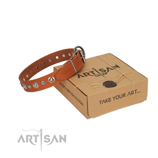 Quality genuine leather dog collar with exquisite adornments
