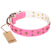 """Chi-Chi Pink Rose"" FDT Artisan Leather German Shepherd Collar with Decorations"