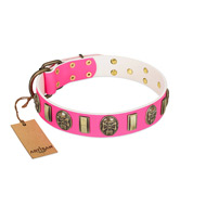 """Perilous Beauty"" Pink FDT Artisan Leather German Shepherd Collar with Small Plates and Skulls"