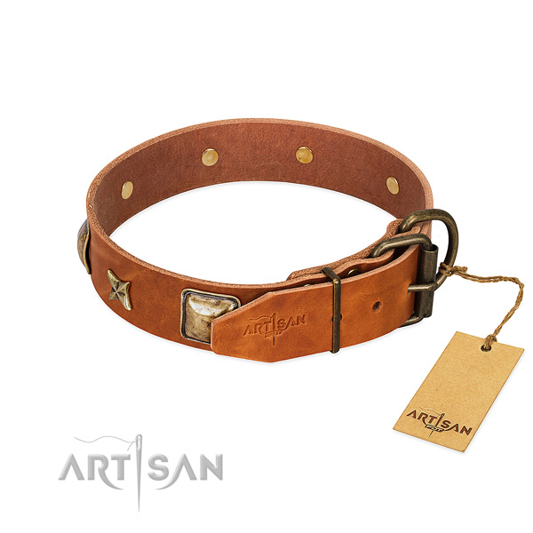 Genuine leather dog collar with corrosion proof fittings and studs