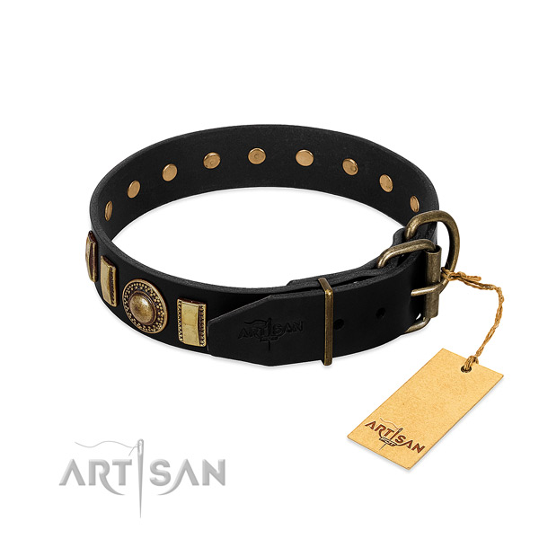 Soft to touch full grain genuine leather dog collar with decorations