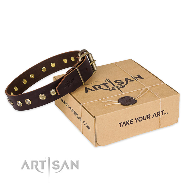 Corrosion resistant hardware on genuine leather collar for your lovely dog