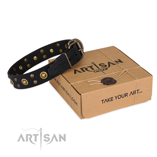 Strong hardware on full grain leather collar for your stylish dog
