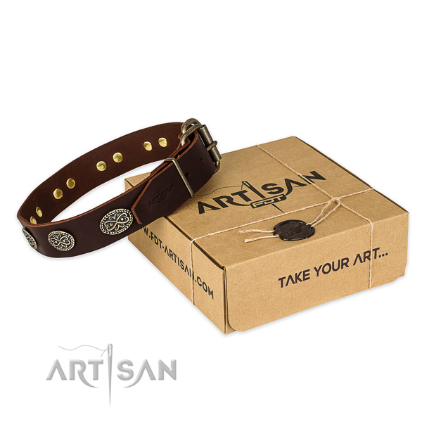 Rust-proof traditional buckle on genuine leather collar for your impressive doggie