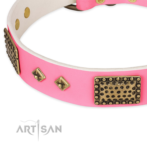 Genuine leather dog collar with decorations for handy use