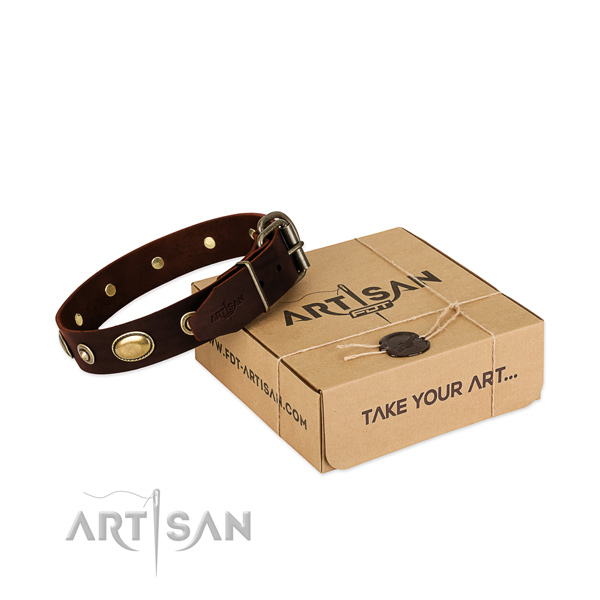 Corrosion proof decorations on full grain natural leather dog collar for your doggie