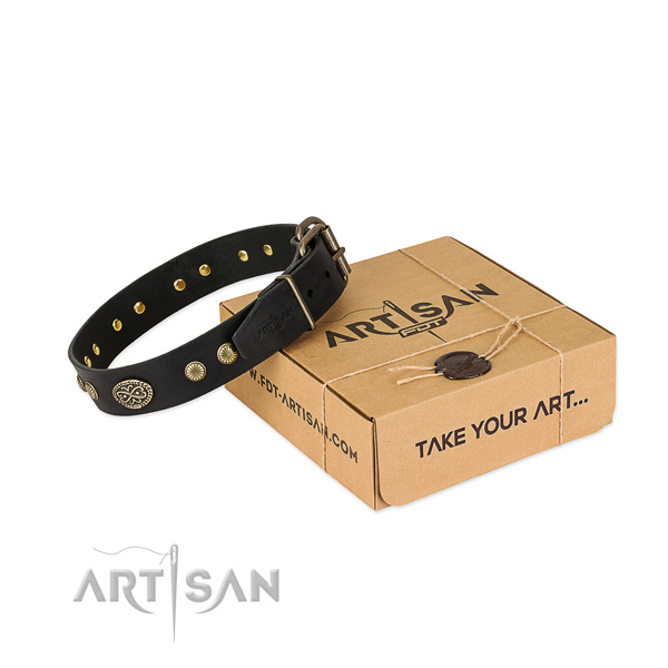 Durable studs on full grain leather dog collar for your pet