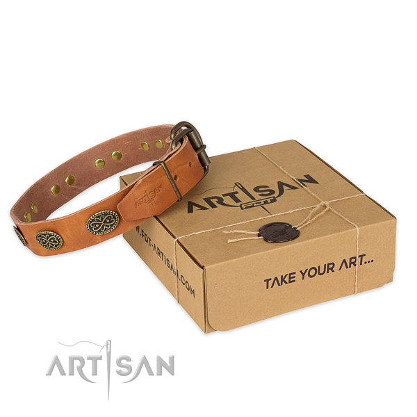 Strong fittings on natural genuine leather collar for your lovely canine