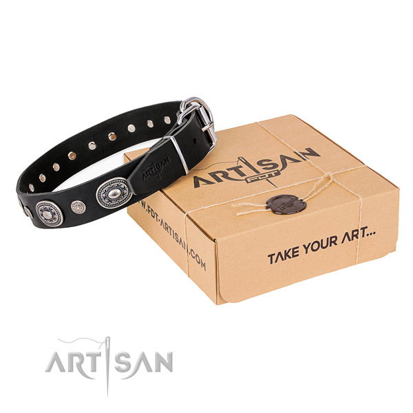 Best quality full grain genuine leather dog collar handcrafted for everyday use