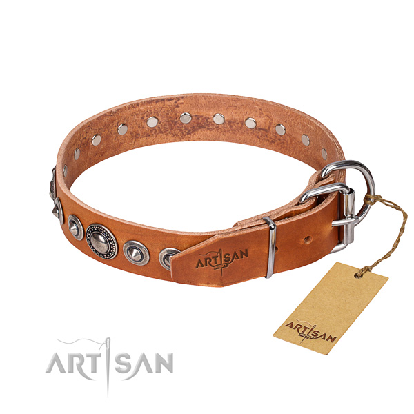 Full grain genuine leather dog collar made of soft to touch material with strong embellishments