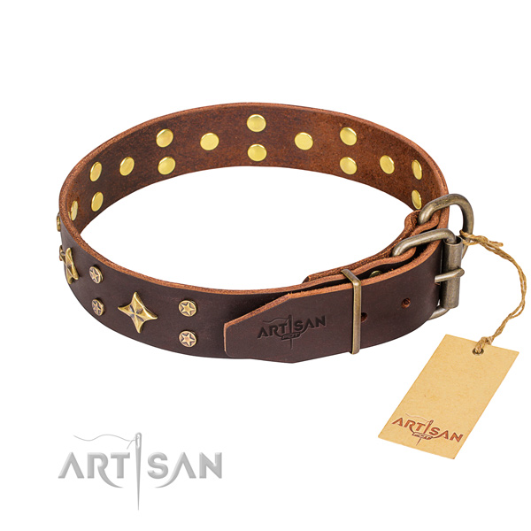 Daily walking decorated dog collar of reliable genuine leather