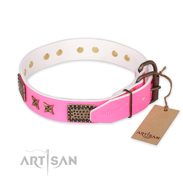 Rust-proof buckle on genuine leather collar for your stylish pet