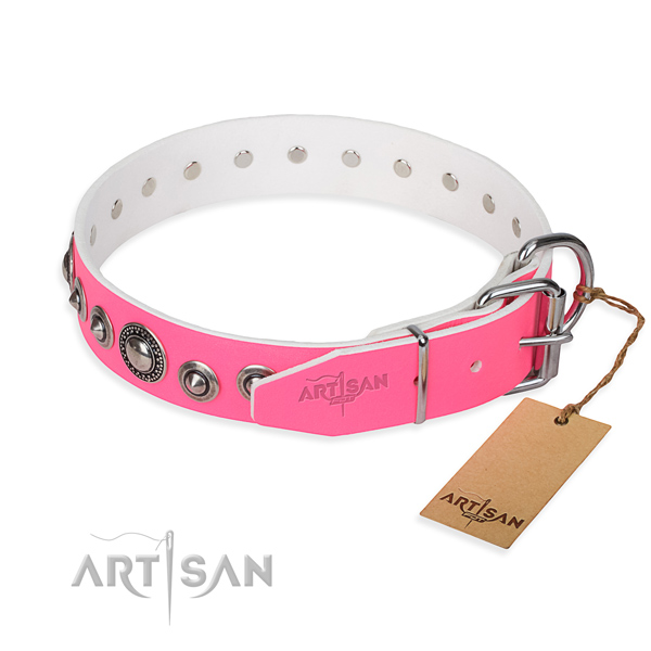 Full grain leather dog collar made of flexible material with rust resistant adornments