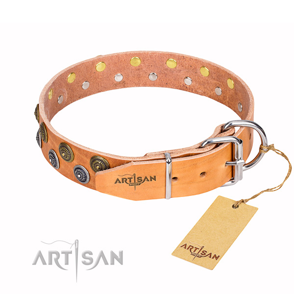 Basic training decorated dog collar of durable genuine leather