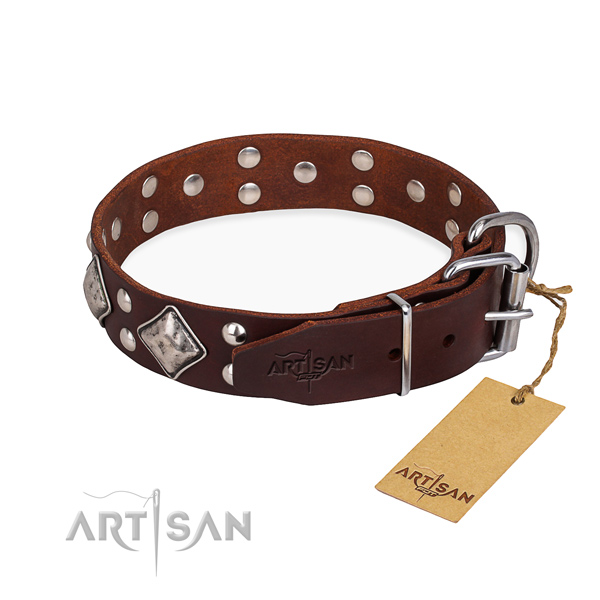 Full grain leather dog collar with trendy reliable decorations