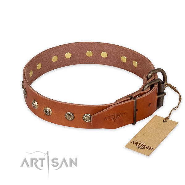 Corrosion resistant traditional buckle on full grain natural leather collar for your attractive dog