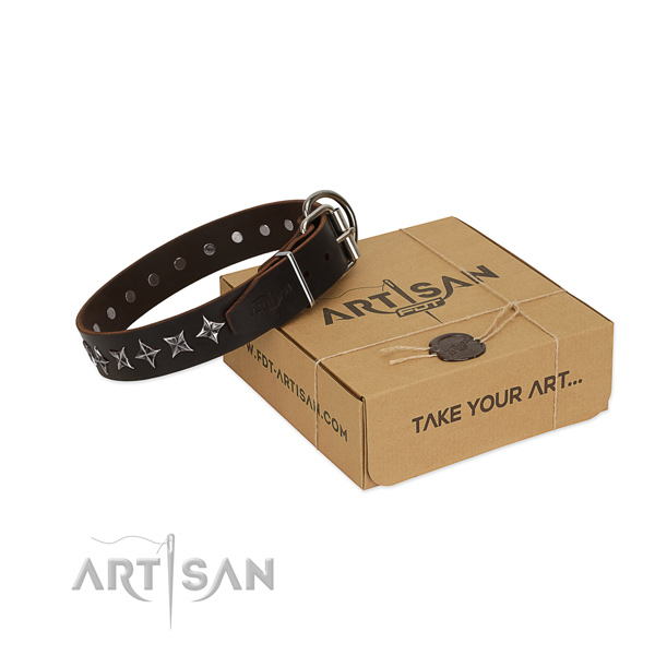 Everyday use dog collar of best quality full grain genuine leather with decorations