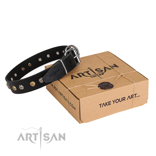 Soft full grain leather dog collar made for handy use