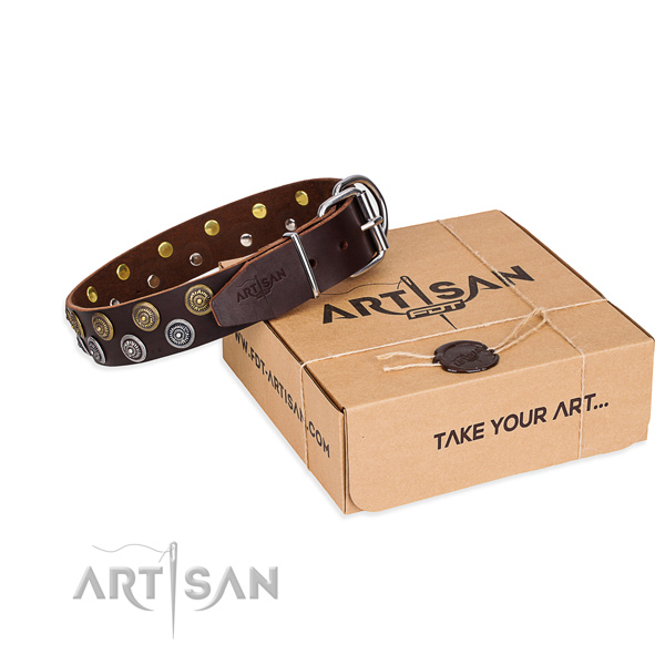 Handy use dog collar of top quality natural leather with embellishments