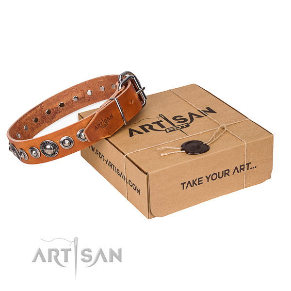 Natural genuine leather dog collar made of top notch material with corrosion resistant buckle