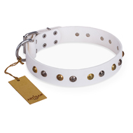 """Snowflake"" FDT Artisan White Leather German Shepherd Collar with Decorations"