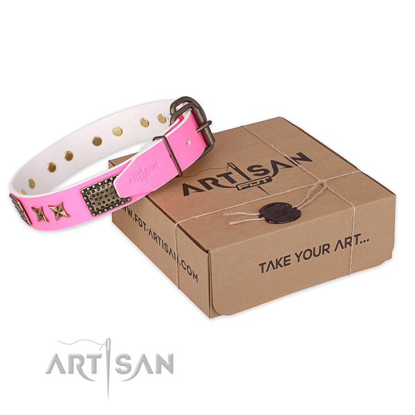 Corrosion resistant buckle on full grain genuine leather collar for your attractive canine
