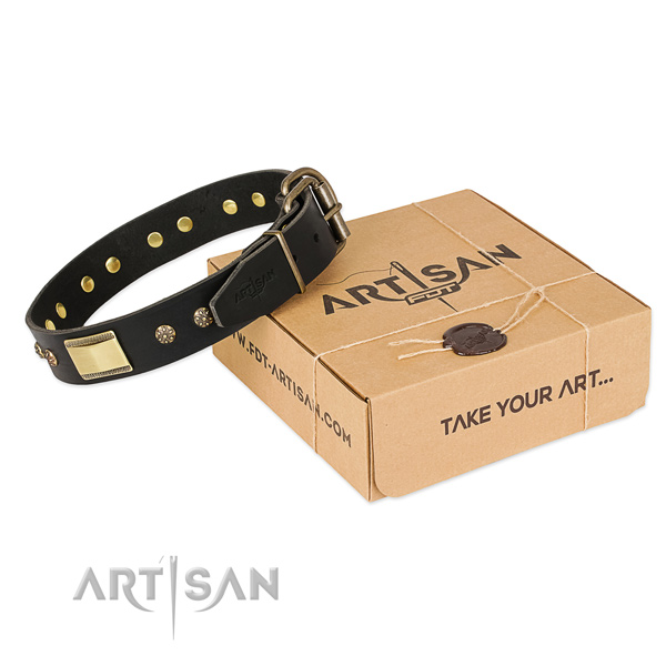 Stylish design full grain leather collar for your attractive four-legged friend