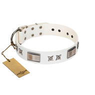 """Bling-Bling"" FDT Artisan White Leather German Shepherd Collar with Sparkling Stars and Plates"
