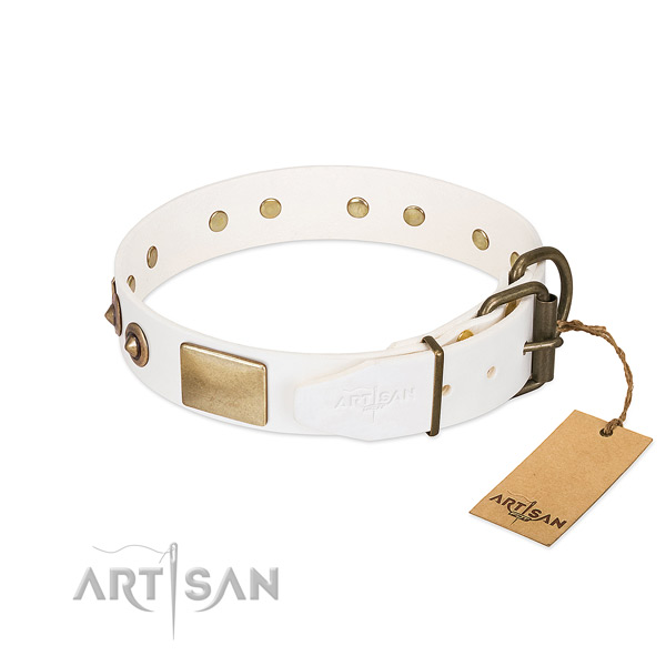 Corrosion resistant fittings on full grain genuine leather dog collar for your doggie