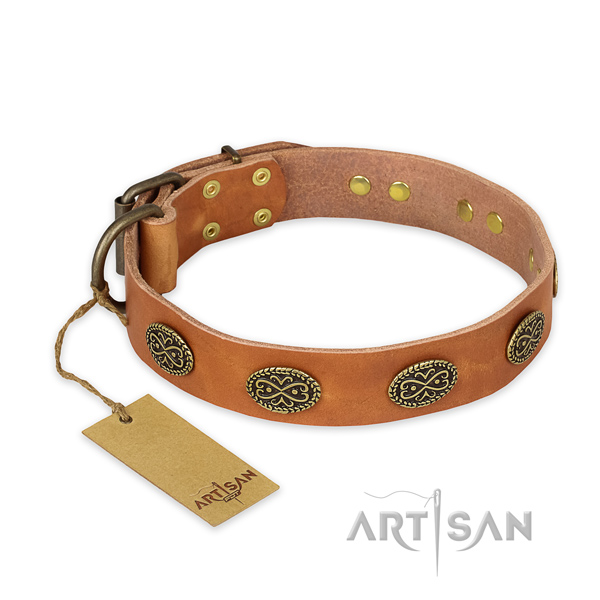 Unique leather dog collar with corrosion proof D-ring