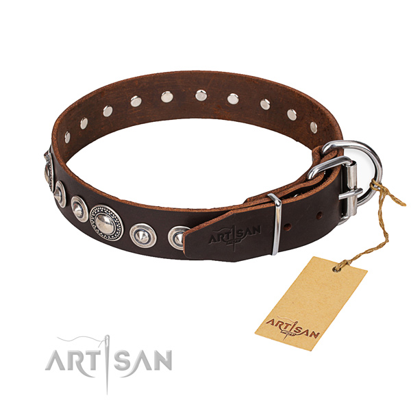 Full grain genuine leather dog collar made of quality material with corrosion resistant D-ring