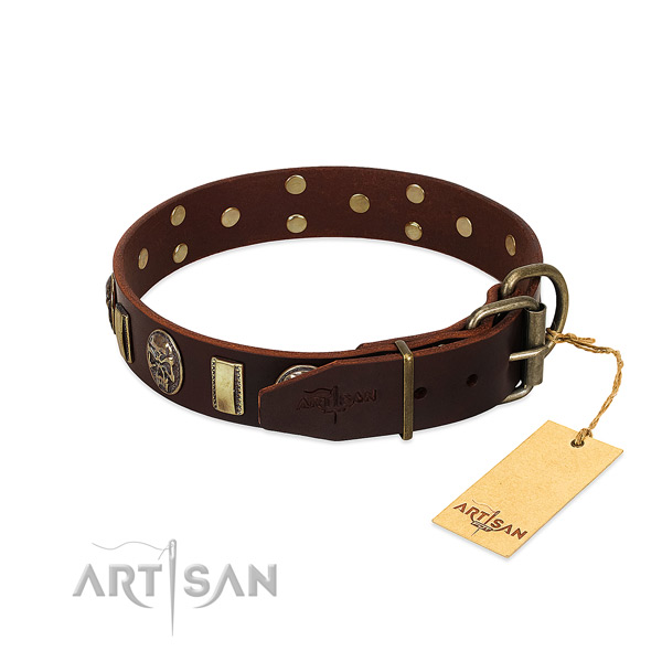 Full grain genuine leather dog collar with corrosion resistant fittings and studs