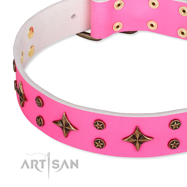 Comfortable wearing embellished dog collar of fine quality leather
