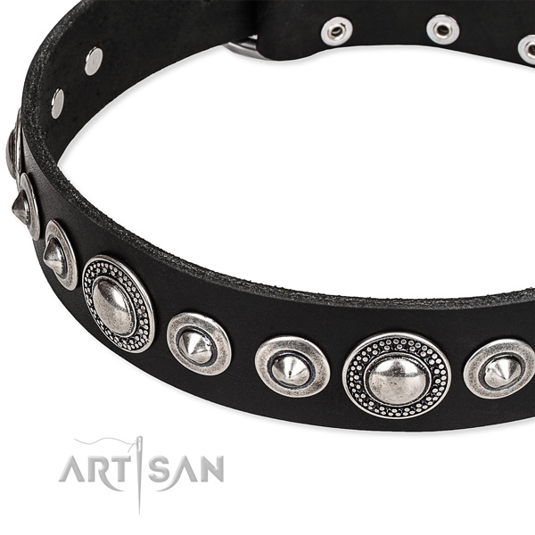 Easy wearing embellished dog collar of durable full grain genuine leather