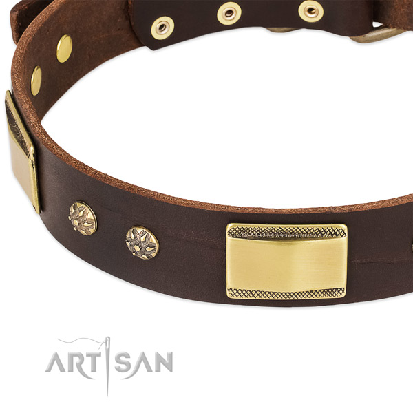 Strong studs on full grain natural leather dog collar for your pet