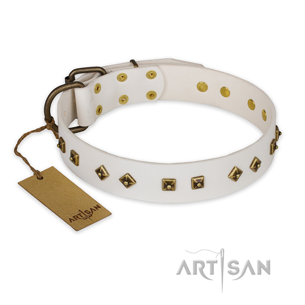 Comfortable leather dog collar with corrosion proof traditional buckle