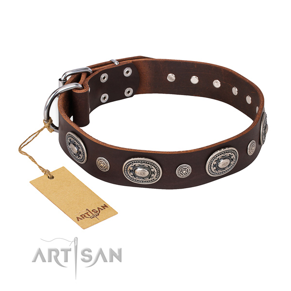 Flexible natural genuine leather collar handcrafted for your four-legged friend