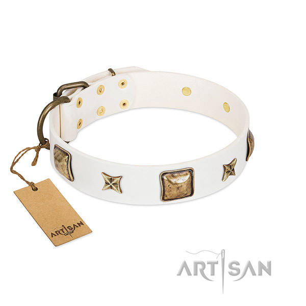 Top notch leather dog collar for handy use