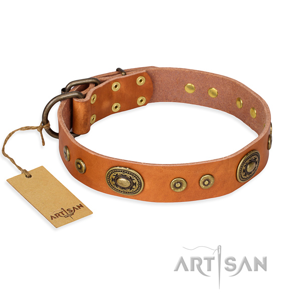 Full grain leather dog collar made of flexible material with strong hardware