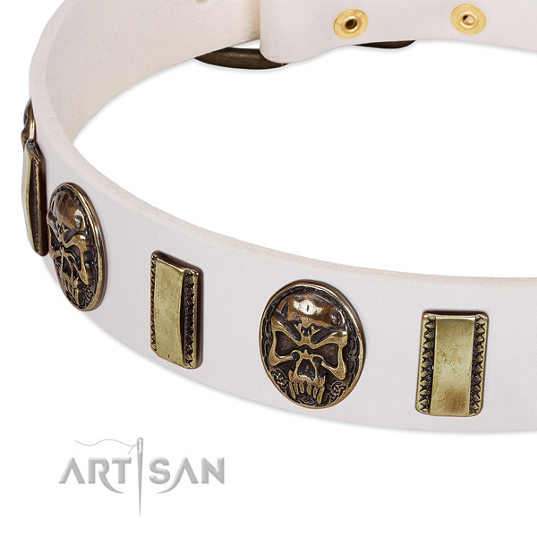 Corrosion proof hardware on full grain genuine leather dog collar for your four-legged friend